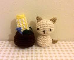 Wool Ball Rug Chibi Kitty Cat Kokeshi Amigurumi Doll With Rug Yarn Ball Fish