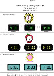time worksheets matching analog with digital clock