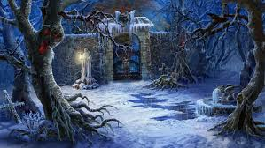 halloween wallpaper for pc art sculpture trees snow fence cemetery fantasy grave dark