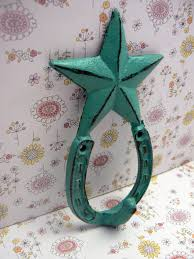 Cowboy Home Decor Star Horseshoe Cast Iron Hook Cowboy Shabby Chic Turquoise Home Decor