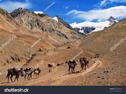 mountain landscape andes hikers trekking argentina stock photo