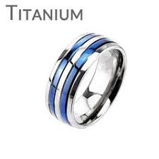 womens titanium wedding bands women s rings blue steel jewelry featuring stainless steel