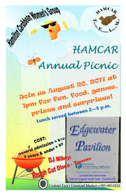 annual family picnic sunday august 20th 2017 1 00 p m hamcar
