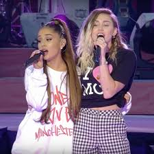 ariana grande and miley cyrus sing duet at manchester benefit