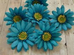 turquoise flowers silk flowers six turquoise aqua blue artificial daisies 3
