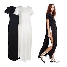 celebrity women shirt dress high side splits maxi long sales