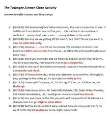 the tuskegee airmen movie cloze fill in worksheets by elise parker