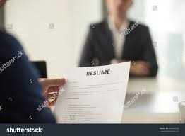Jobs In Resume Writing by Close View Job Interview Office Focus Stock Photo 666854938