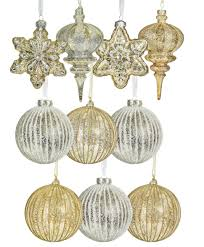 gold and silver glass ornament set tree classics