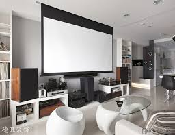 Simple  Living Room Home Theater Design Decorating Inspiration - Living room with home theater design