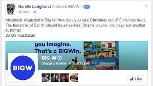 big w omits the word u0027christmas u0027 from new christmas tree range