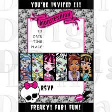 monster high party invitation birthday invites blank instant