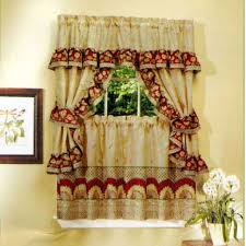 kitchen window curtain ideas brown gloss paint kitchen cabinet