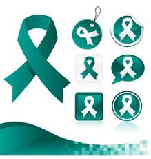 teal ribbons teal ribbon ovarian cervical uterine cancer vector image