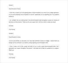 ideas of sample thank you letter for writing a recommendation in