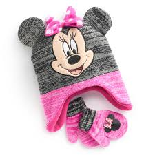 minnie mouse toddler 3d ears trapper hat u0026 mittens set