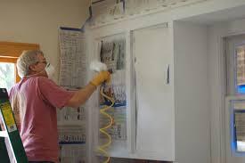 ebony wood nutmeg windham door kitchen cabinet spray paint