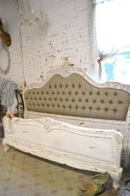 painted cottage shabby french linen tufted romantic bed king q