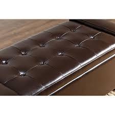 abbyson living sawyer leather storage ottoman dark brown