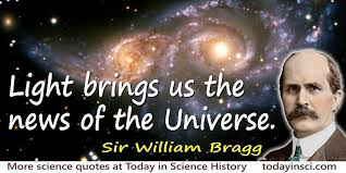 Quotes About Light William Bragg Quote Light Brings Us The News Of The Universe