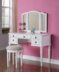 modern white dressing table with mirror and drawers using pink