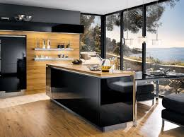 modern kitchen designs with island amazing wood and black kitchen room with breathtaking view