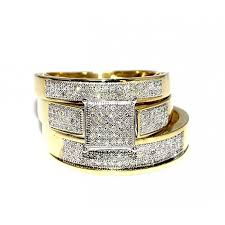 His And Hers Wedding Ring Sets by His Her Wedding Rings Set Trio Men Women 10k Yellow Gold 0 6cttw