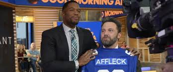 michael strahan new haircut die hard patriots fan ben affleck gets personalized giants jersey