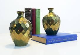 Vintage Antique Home Decor Vintage Rih Solid Brass Faceted Honeycomb Vases Set Of 2 Small