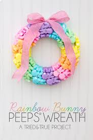 Easter Basket Door Decorations by Rainbow Bunny Peeps Wreath Peeps Wreaths And Bunny