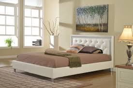 White Bedroom Furniture King Size Florenza White Leather Tufted Platform Bed Frame Kassa Mall Home