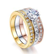 wedding set rings three rings surface prong austrian cz 18k yellow white gold