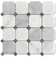 carrara pietra 3x3 octagon honed mosaic bardiglio dot floor tile