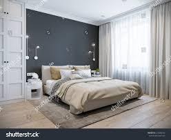 urban contemporary modern scandinavian bedroom interior stock