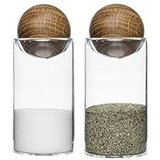 sagaform oak and glass 4 5 inch salt and pepper shaker