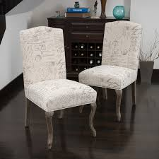 Oak Fabric Dining Chairs Crown Top French Script Beige Fabric Dining Chair Set Of 2 By