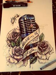 tattoo designs drawings furthermore vintage microphone tattoo