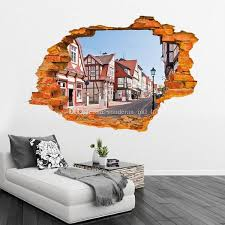 home decor 3d stickers 3d wall stickers stereo creative wall broken fashion sun beach wall
