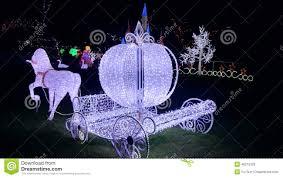 christmas light show cinderella horse carriage editorial photo
