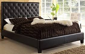 Queen Size Platform Bed - amazon com usa club tufted dark brown faux leather queen size