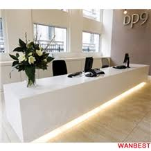 Spa Reception Desk Commercial Artificial Stone Solid Surface White Led Lighted Nail