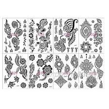 lace flower pattern black henna tattoo waterproof temporary body