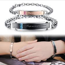 Gold Personalized Bracelets Custom Engraving Stainless Steel Gold Couple Bracelets Lovers