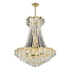Crystal And Gold Chandelier Worldwide Lighting Empire Collection 15 Light Polished Gold And