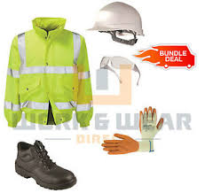 s boots day delivery ppe safety kit boots helmet hi vis jacket specs gloves