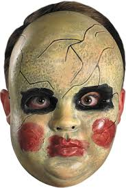 the purge mask halloween store purge smeared painted baby doll face mask creepy scary halloween
