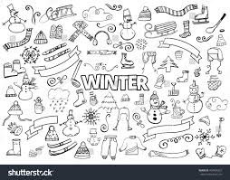 winter doodles collection stylish design elements stock vector