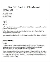 Data Entry Specialist Resume Work Resume Retail Associate Professional Work Resume Templates