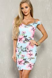 light blue floral print short sleeve bodycon casual dress