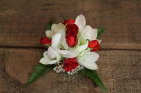 Red Rose Wrist Corsage White Singapore Orchids U0026 Mini Red Roses Flowers Of Bethlehem